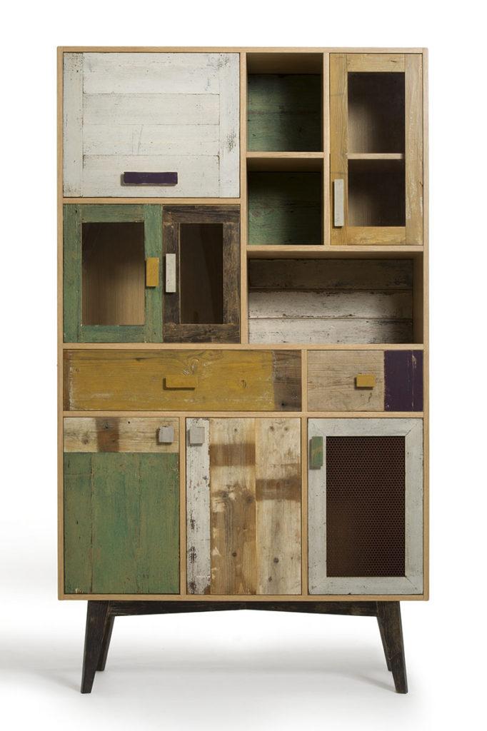 Credenza in legno di recupero verde e ocra per soggiorno e sala da pranzo su misura