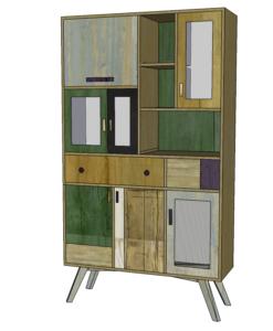 Dispensa per soggiorno per piatti e stoviglie in legno di recupero rigenerato sui toni del verde