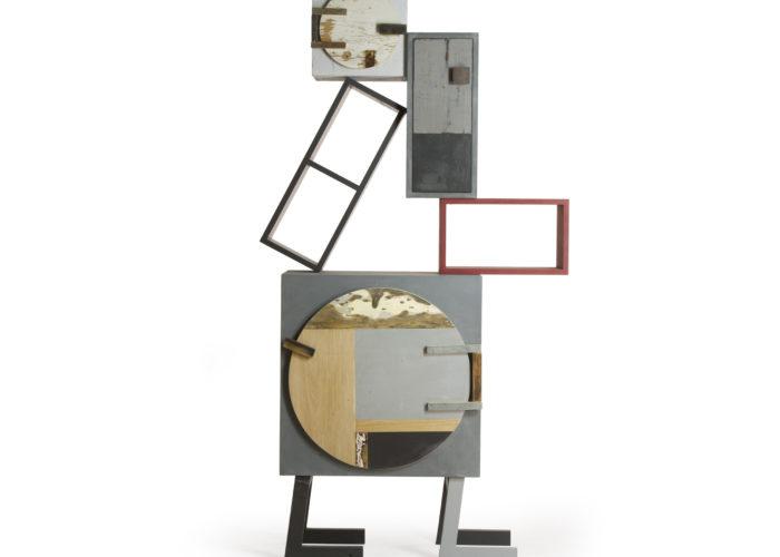 mobile scultura con sportello rotondo legno di recupero