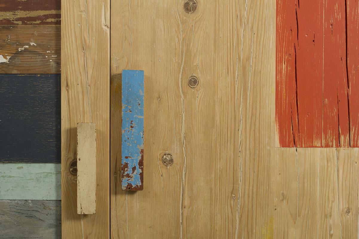 ante parete attrezzata in legno di recupero controprogetto