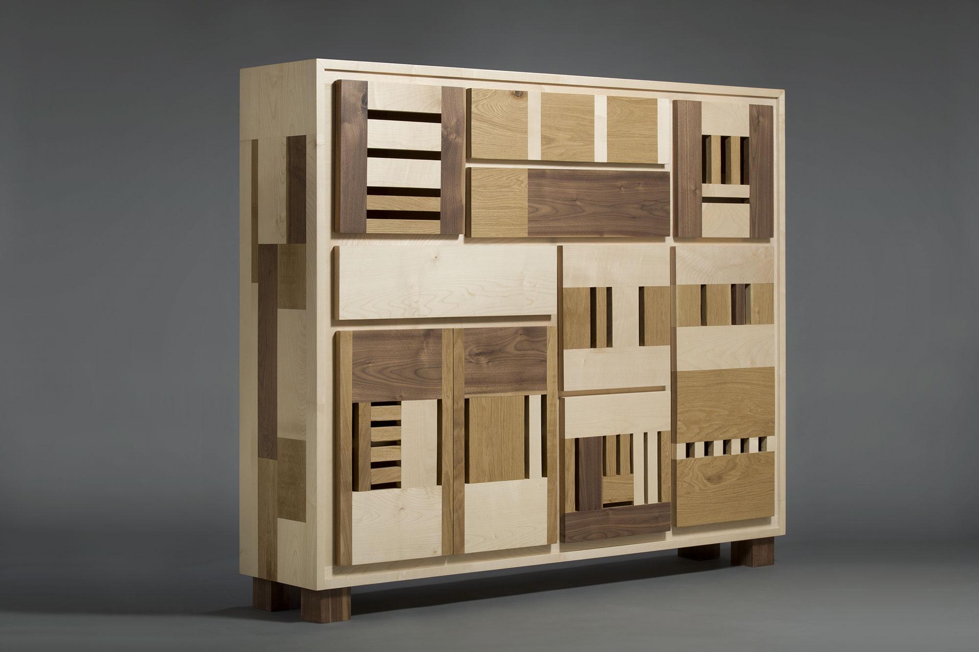 credenza con sportelli e cassetti legno massello contemporaneo