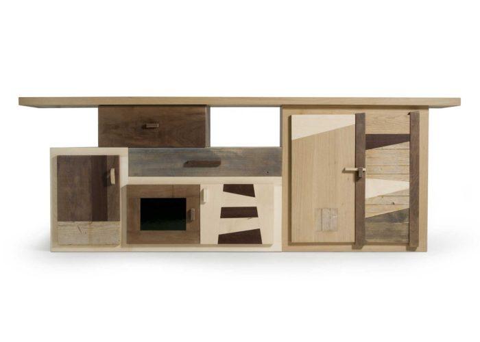 Bancone in legno massello per zona living. falegnameria Laquercia21. Design artigianale