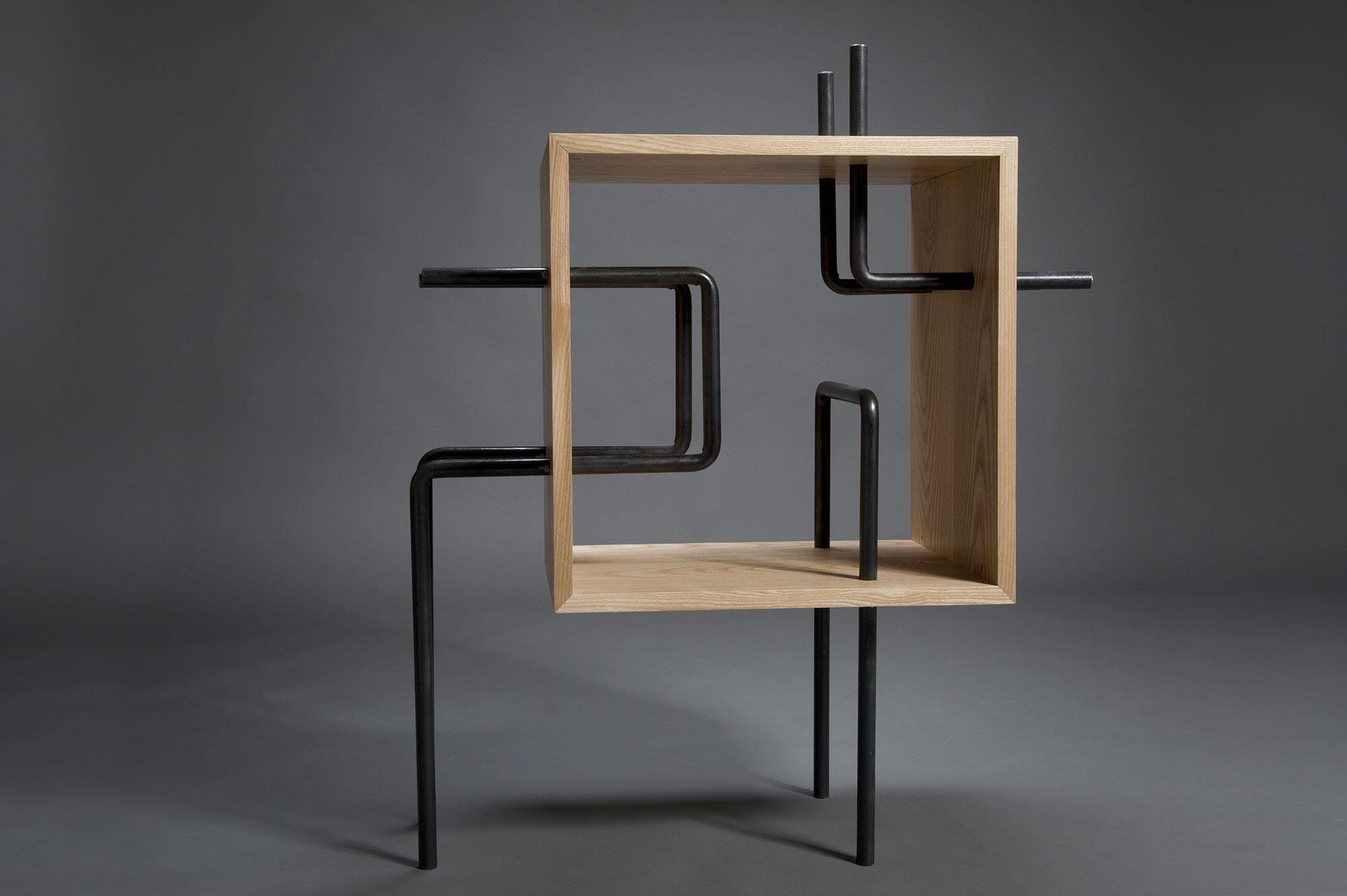 Cubo per zona living ferro e legno