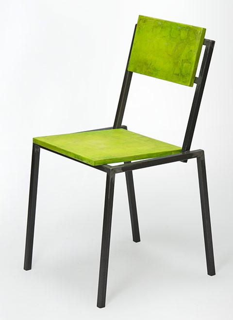 Sedia legno riciclato ristrutturata in legno e ferro