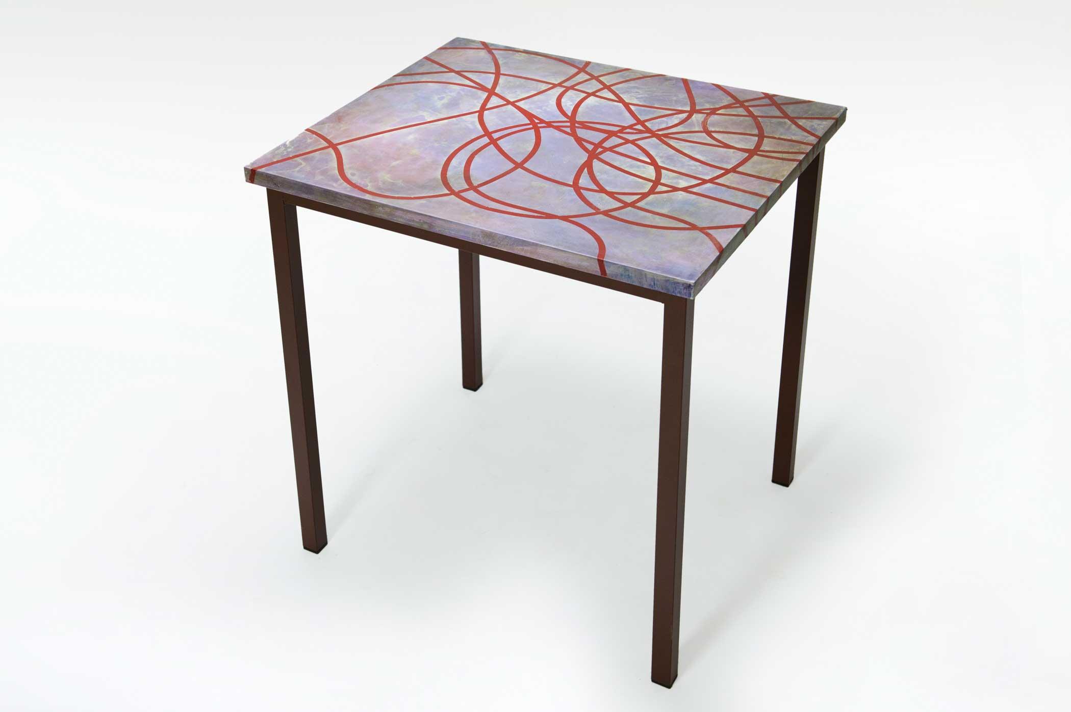 Tavolo di design con piano artiginale