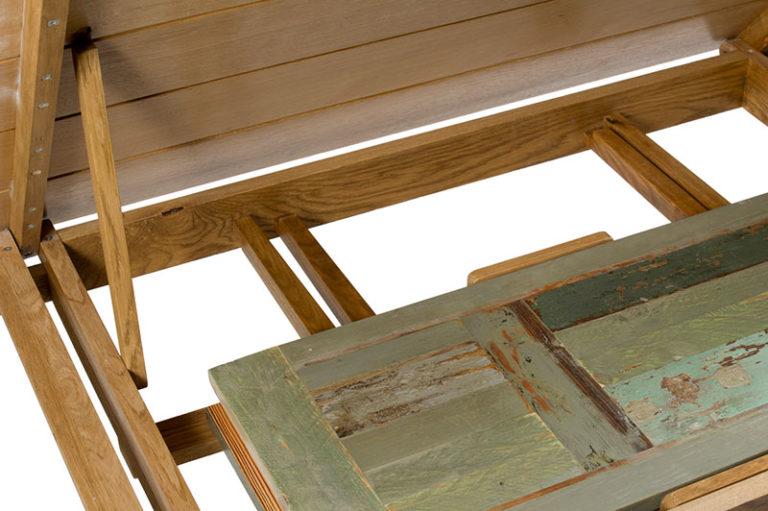 tavolo in legno di recupero con allunghe