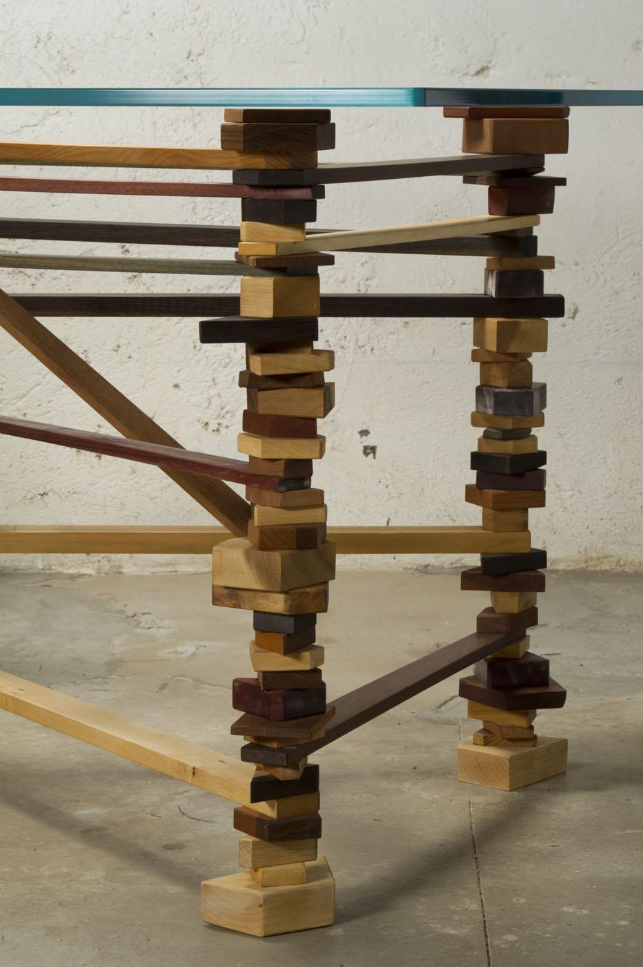 Tavolo artigianale vetro e legno
