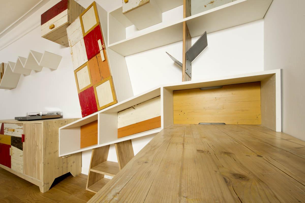 Pareti attrezzate moderne legno massello e recuperomoderne legno massello e recupero
