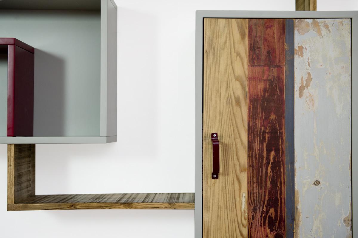 mobile per parete attrezzata su misura contemporanea grigio e marrone