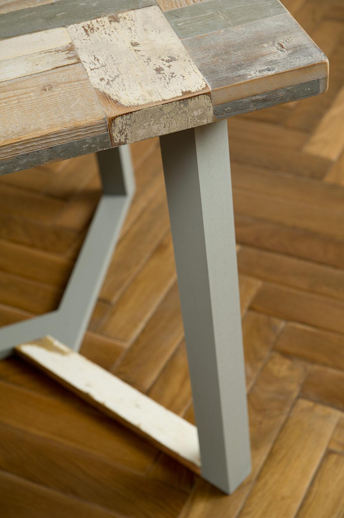 tavolo legno di recupero azzurro grigio bianco