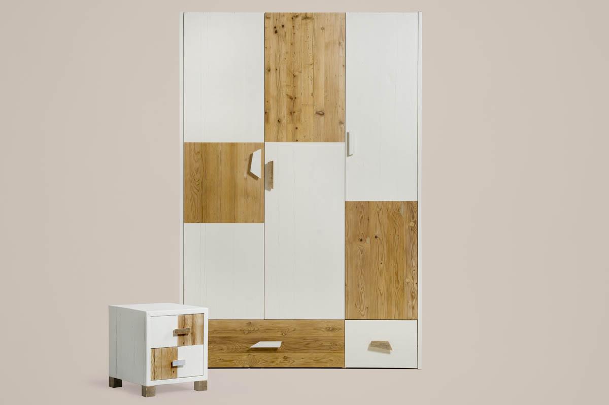 armadio artiginaale in legno riciclato e laccato bianco