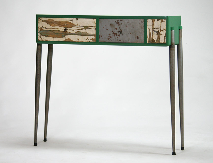 Consollecon legno recuperato e ferro gambe anni 50
