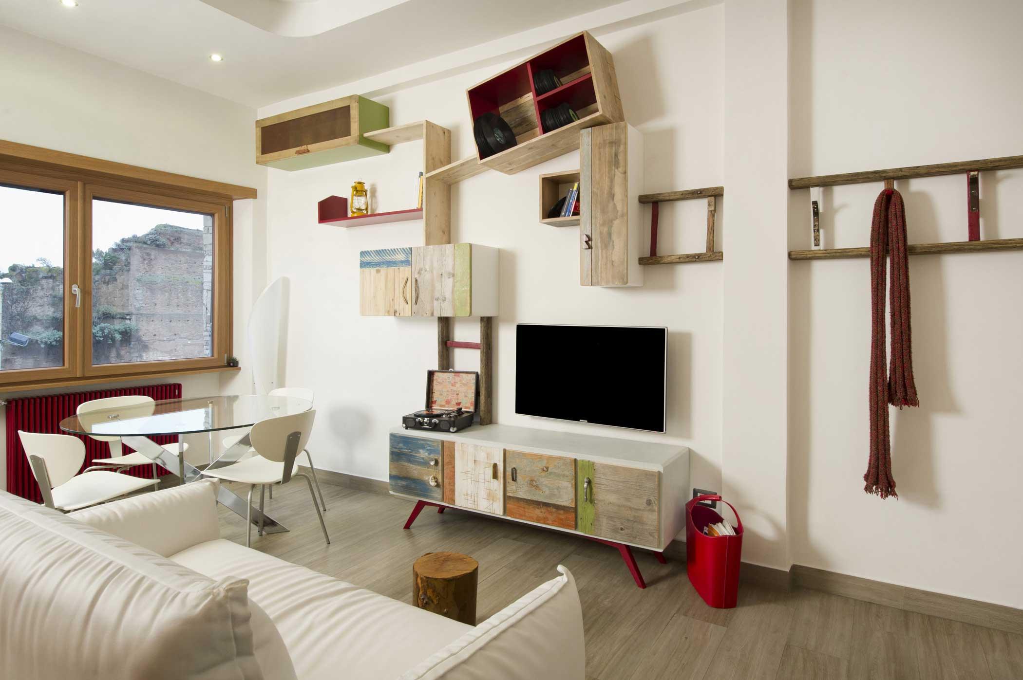 >Pareti attrezzate moderne e contemporanee per soggiorno in legno di recupero