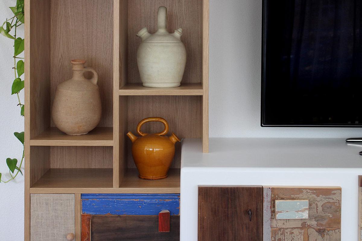 dispensa e madia in rovere e legno di recupero colorato