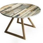 tavolo in legno di recupero e noce canaletto. tavolo rotondo, su misura e personalizzabile