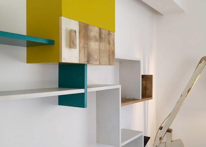 pareti attrezzate contemporanee di design falegnameria su misura