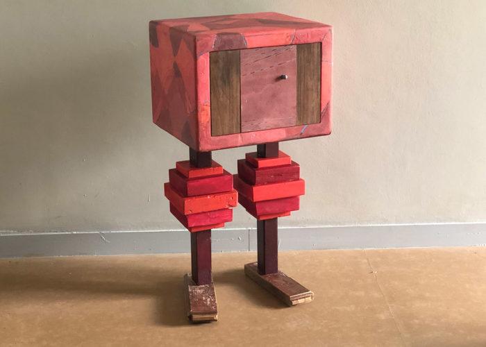 mobile contenitore in legno di recupero rossoresina e ferro