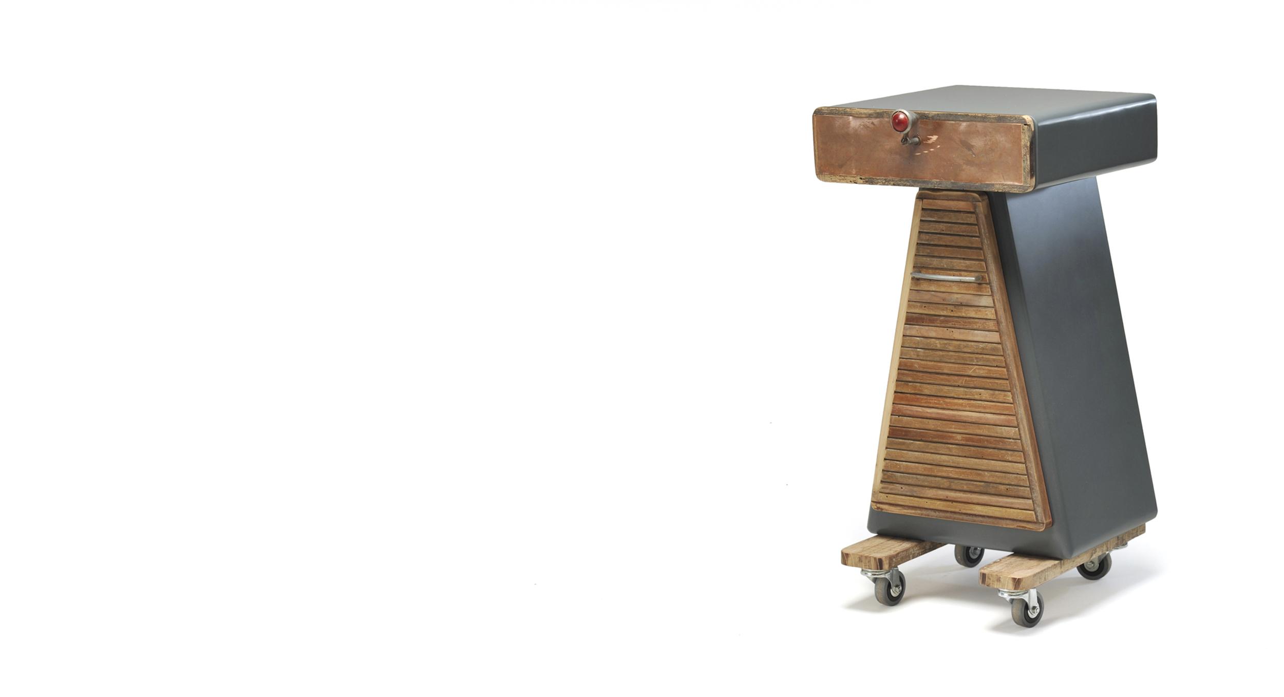 Picolo mobile con ruote legno di recupero e cassetto grigio antracite