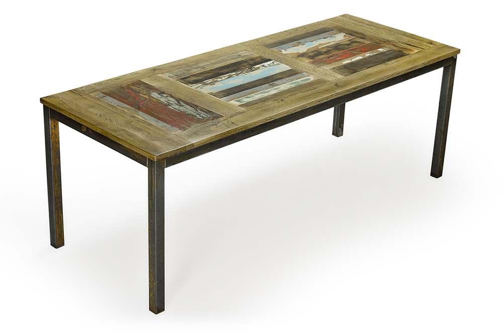 tavolo in legno di recupero e ferro