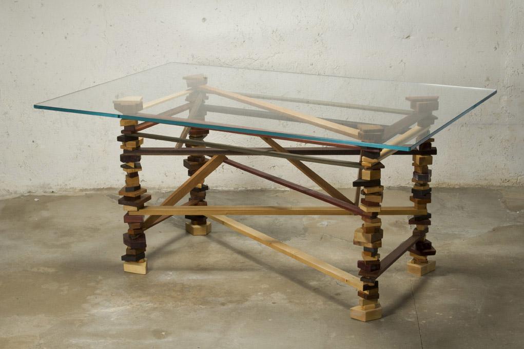 tavolo in vetro e legno massello