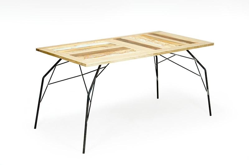 tavolo in legno di recupero e rovere e ferro