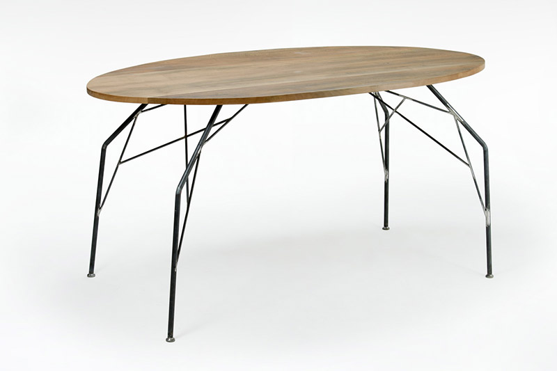 tavolo ovale noce e ferro