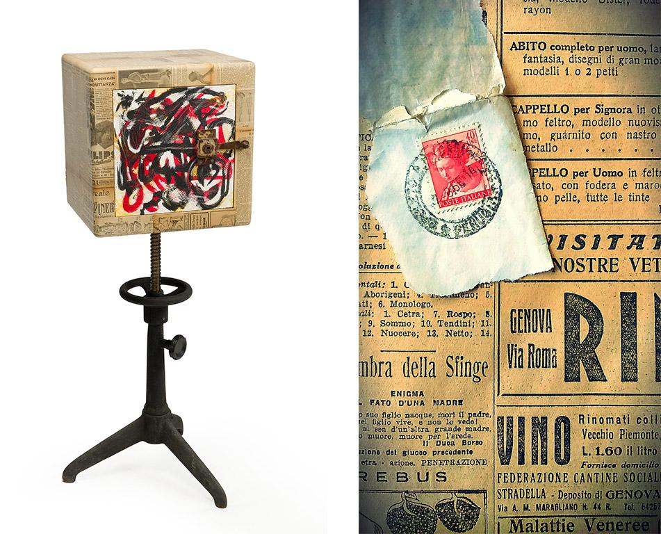 Mobile di arte con ritagfli di giornali di Marzia Spinetti, artista romana