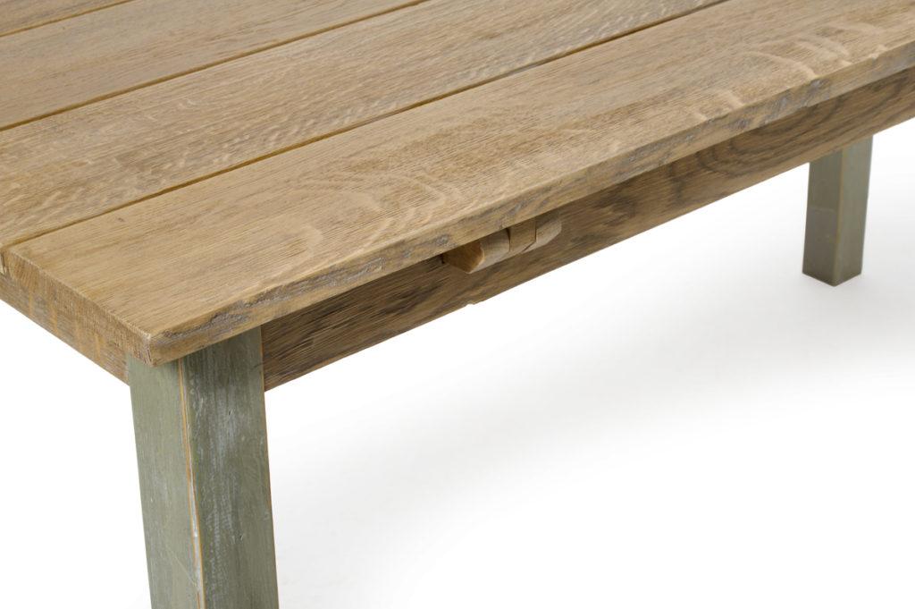 Tavolo in rovere e abete lastronata con listelli in legno di recupero verde salvia