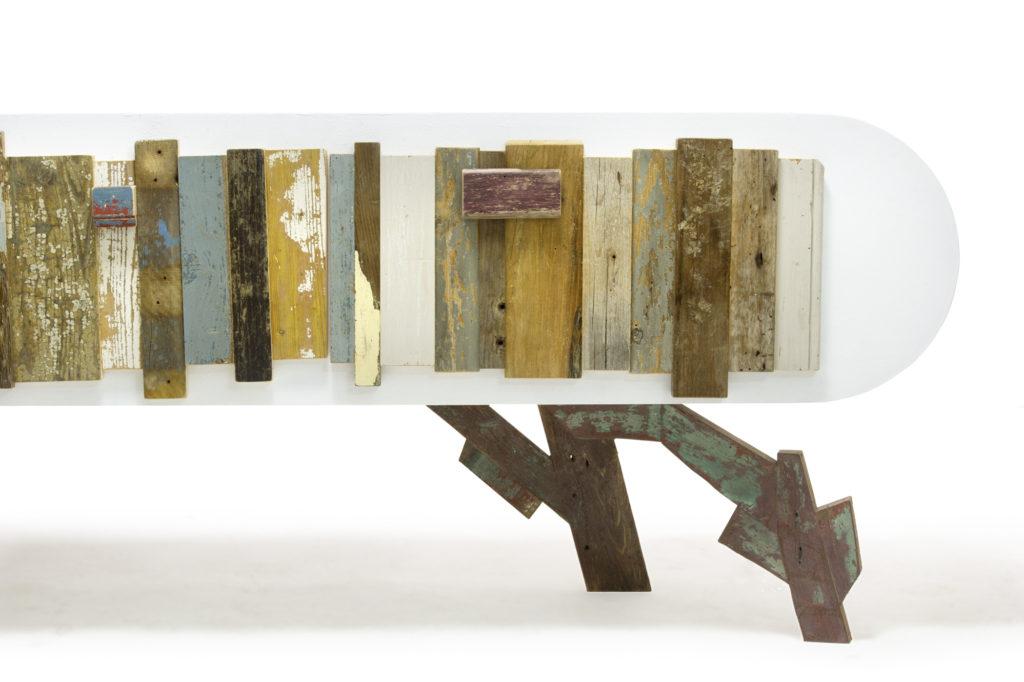 Credenza con cassetto lunga in laccato bianco e legno vintage