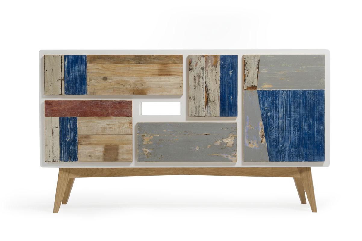mobile tv gambe in rovere e cassetti legno di recupero colorato
