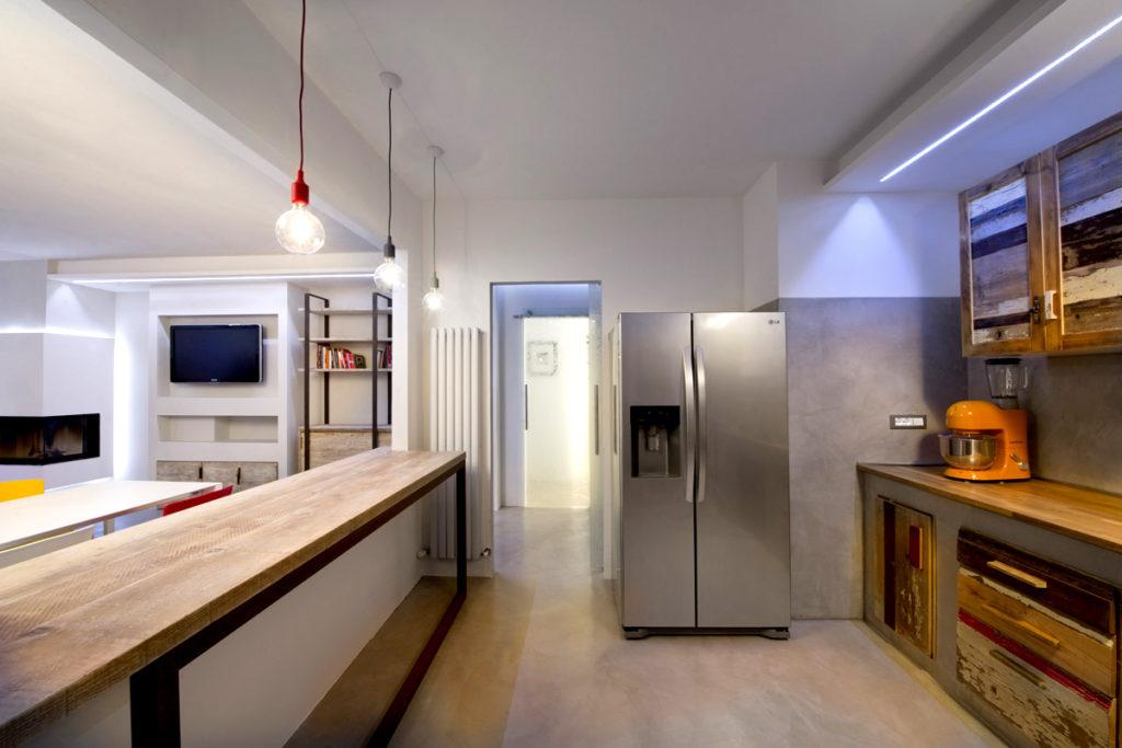 laquercia21 cucina stile industriale con bancone in legno di recupero