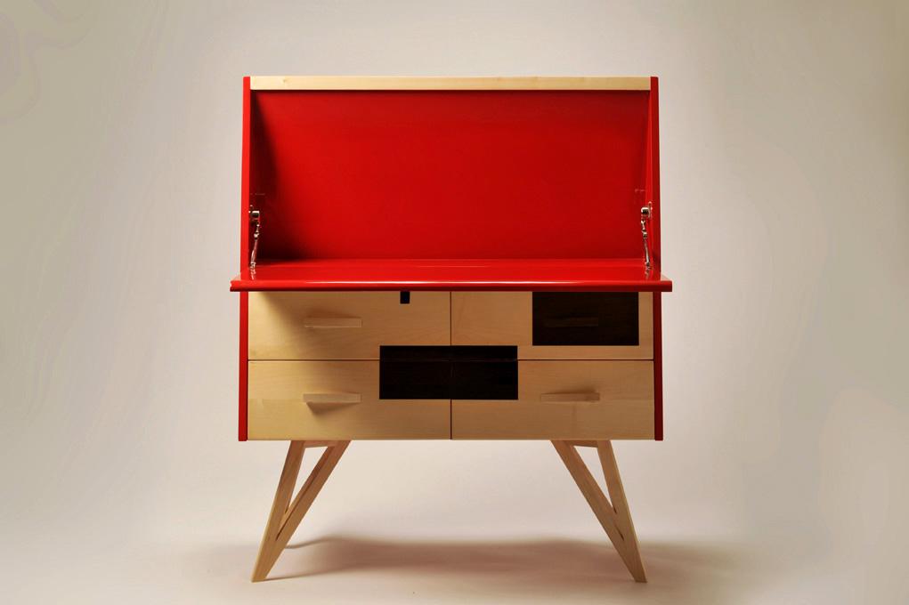 Tavolo da studio a ribalta in legno e laccatura