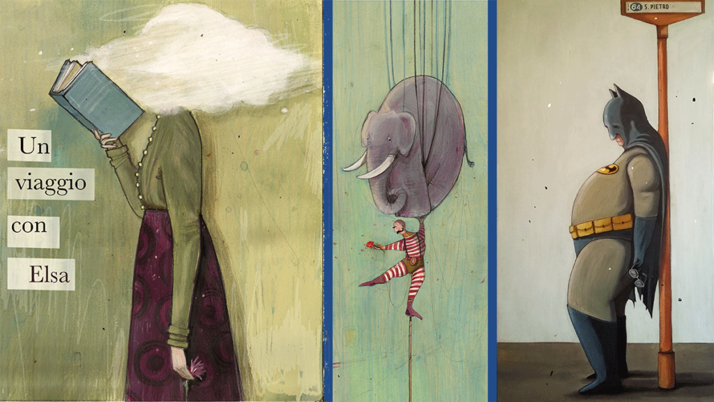 Illustrazione Elsa Morante, donna che legge con testa tra le nuvole, circo, equilibrista che sostiene un elefante, batman che attende alla fermata un autobus