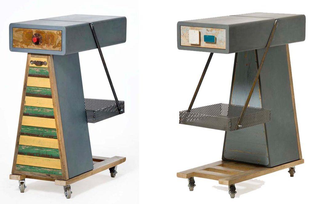 Materiali riciclati: rame, metalli, legno antico, legno da costruzioni per mobili con ruote e cassetti