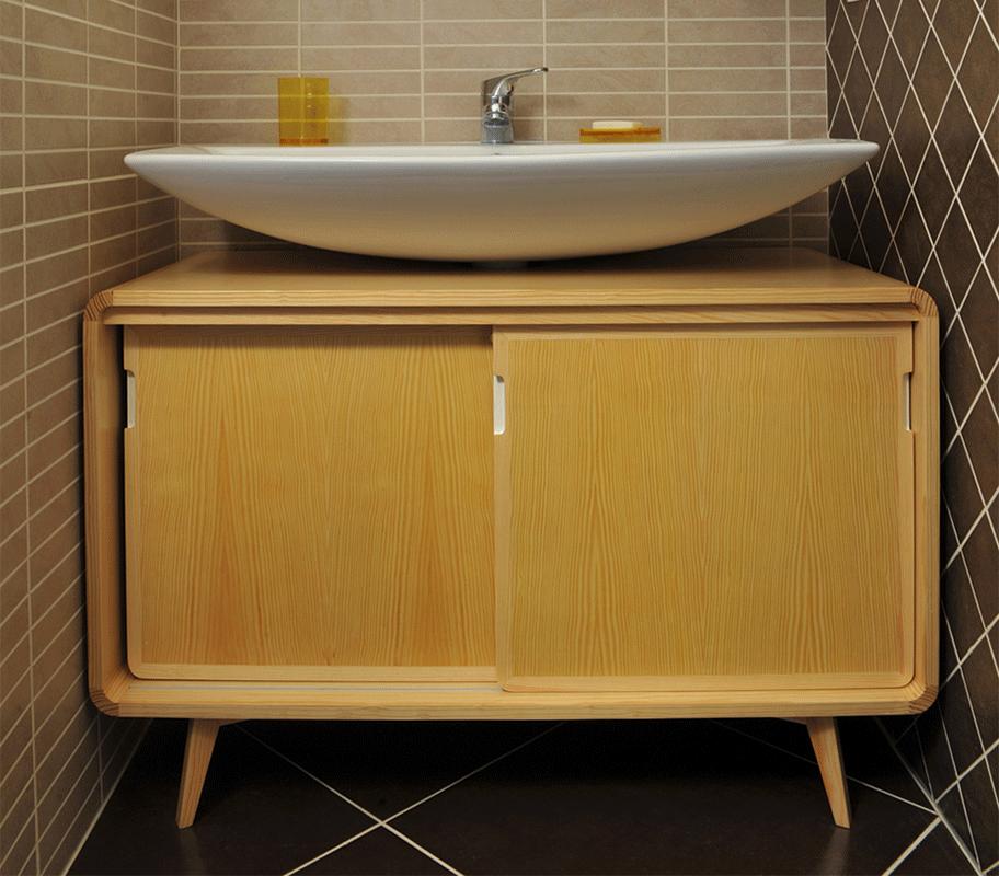 Mobile bagno con ante scorrevoli in abete pino massello