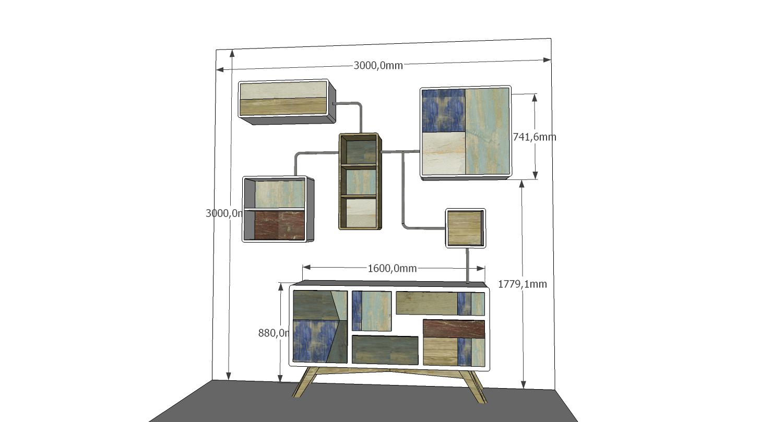 Progetto per parete attrezzata soggiorno tubi stile industrial e legno di recupero azzurro