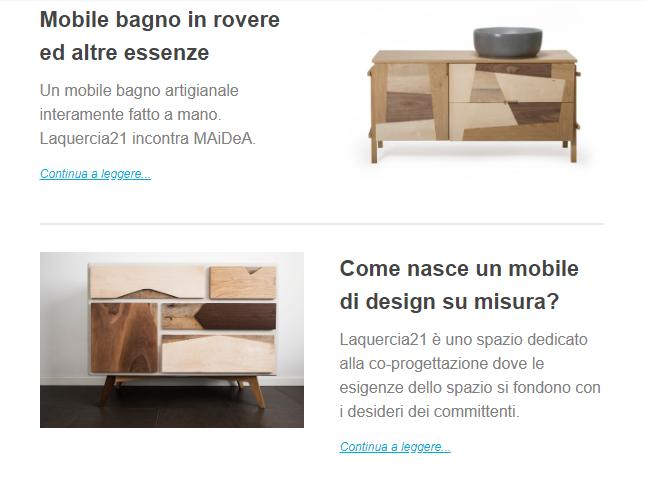 Newsletter design artigianale Laquercia21