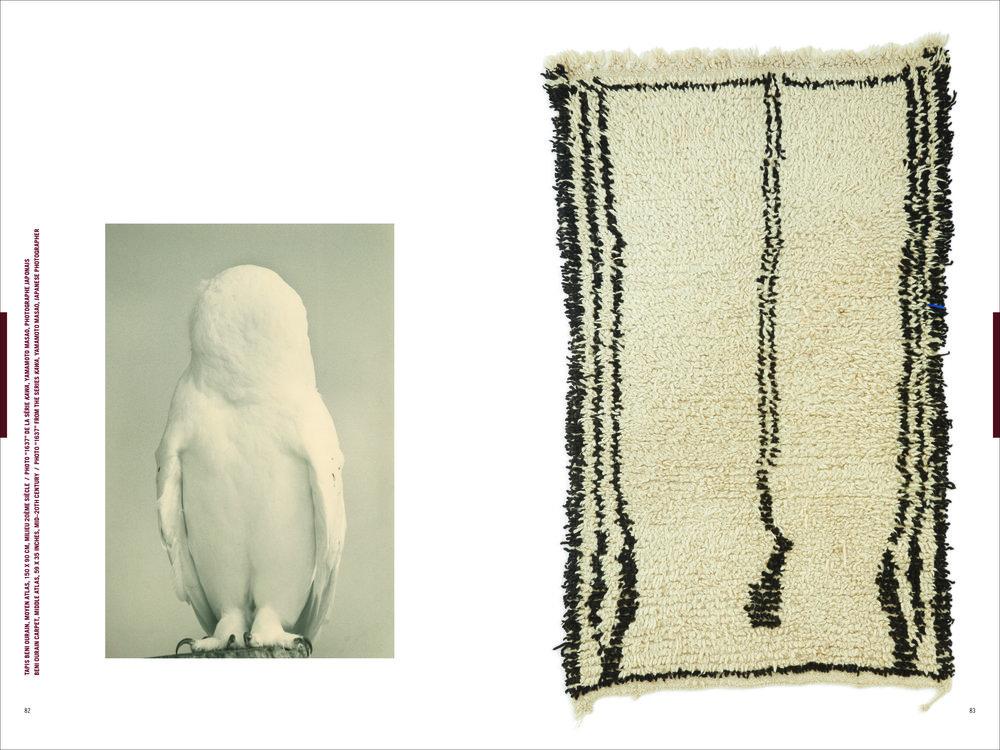 fotografia d'arte barbagianni senza occhi e tappeto originale di lana marocchino Pointed Leaf Press