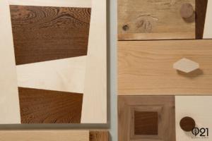 cassetti in legno di recupero e massello chiaro e scuro