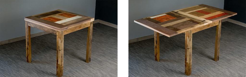 tavolo allungabile apertura a libro su misura legni scuri e arancio