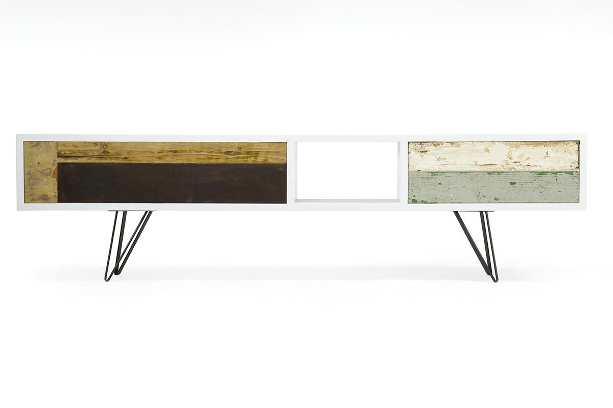 mobile tv contemporaneo laccato bianco e gambe in ferro
