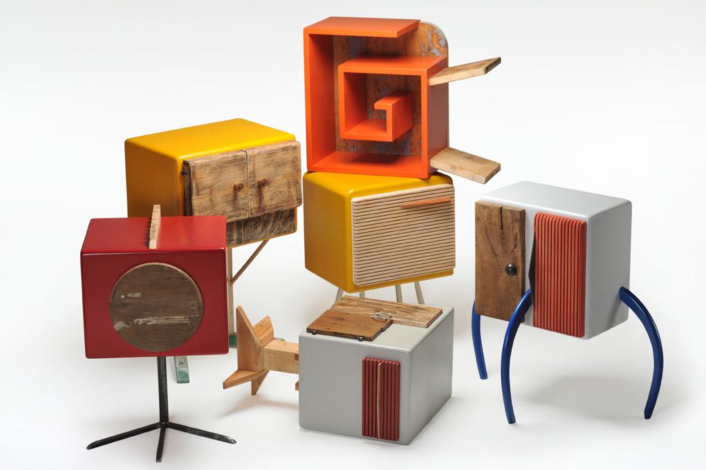 comodini moderni con ferro legno colorato su misura