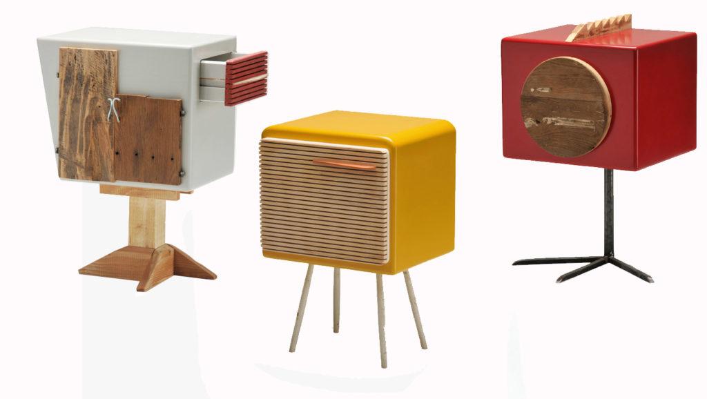 mobili comodini artigianali in legno colorato ed oggetti vintage