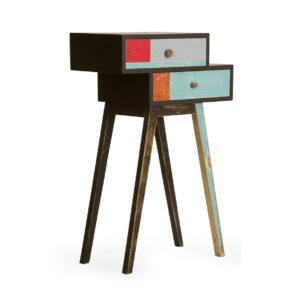 mobiletto con due cassetti in legno di recupero azzurro nero e rosso
