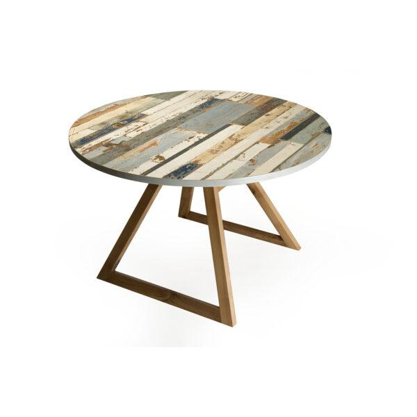 tavolo rotondo da pranzo con gambe in massello e piano in listelli legno vintage azzurro