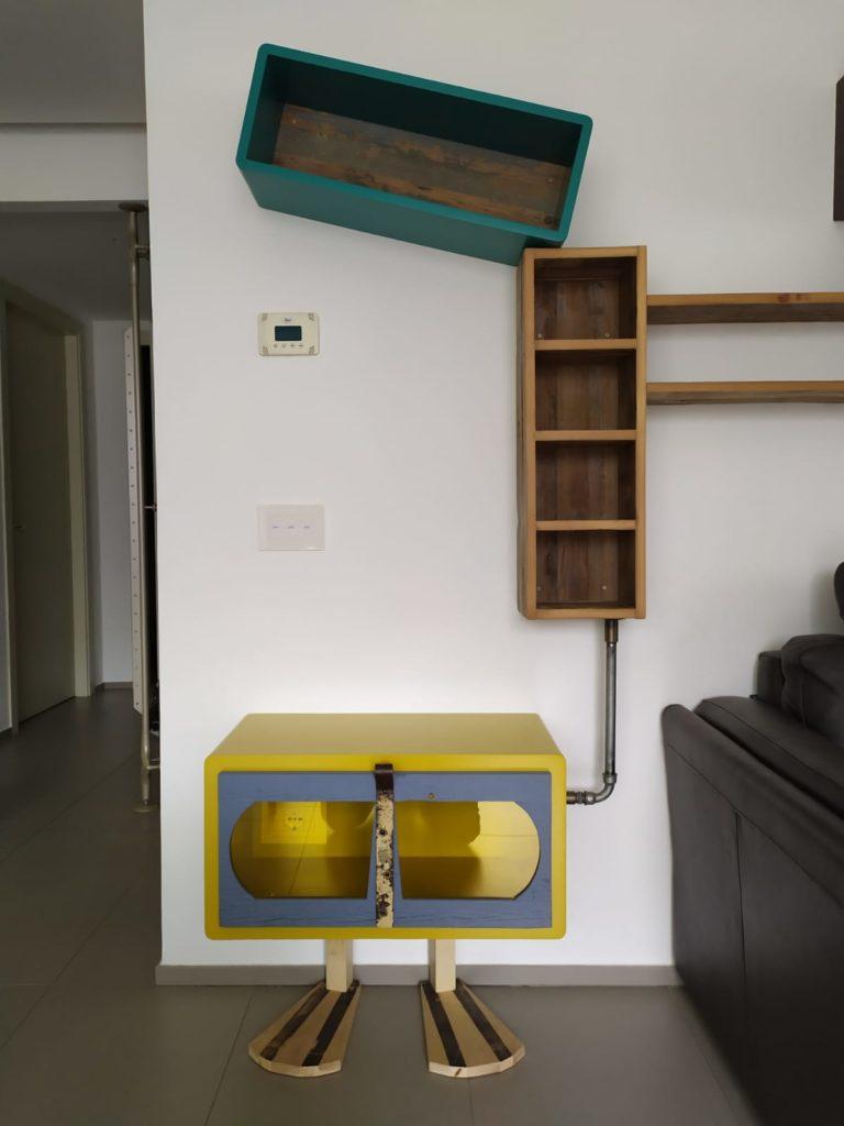 parete attrezzata moderna laccatura e legno massello nuovo e vintage colorato
