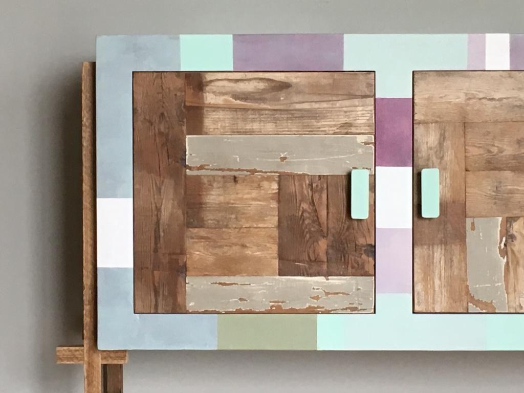 mobile buffet contemporaneo colorato resina e legno vintage colori pastello
