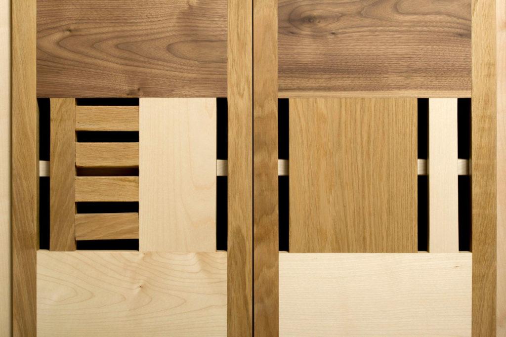 Credenza contemporanea in acero, rovere e noce scuro legno  massello naturale