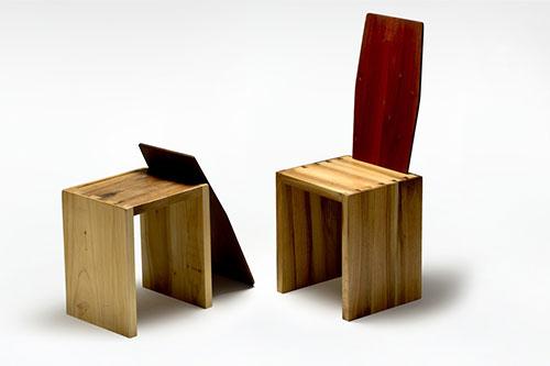 sedia in legno massello componibile in 4 pezzi artigianale