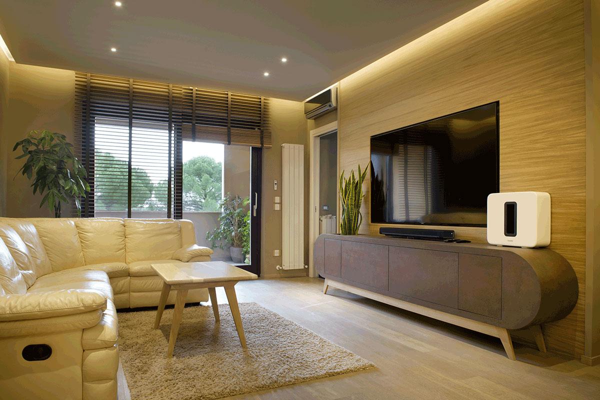 arredo design per soggiorno contemporaneo in legno